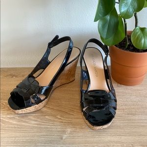 "Franco Sarto ""Casey"" Patent Leather Cork Wedges, 8"